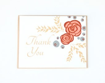 Thank You Cards, Floral Thank you card, Bontanical Thank you, Yellow, Pink and Blue flower card, Roses and blueberries, Blank Card