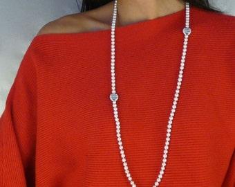 Klassik lange Perlenkette mit zwei silver Pendants