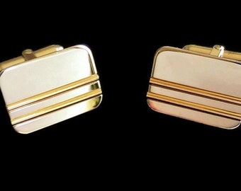 Sterling Silver Cuff Links with 14K Yellow Gold Inlay  ~ Ben Bridge ~ Toggle Closure ~ Classic Gift for Him