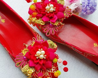 Traditional Bridal Wedding shoe clips~Chinese style shoes clips for wedding~Bridal shoes clips~Bridal accessory~Handmade bridal shoes clips