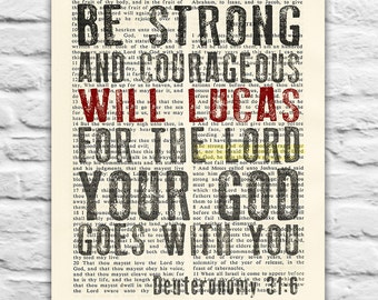 Vintage Bible Digital Printable PERSONALIZED ART PRINT Deuteronomy 31:6, Be strong and courageous, dictionary Graduation christian gift