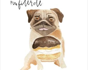 pug watercolor art print