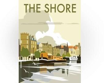The Shore Greeting Card, Travel Art, Edinburgh