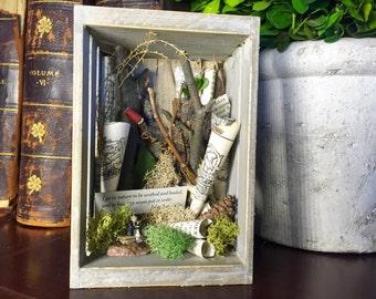 Nature Shadowbox Assemblage, John Burroughs Quote Shadowbox, John Burroughs Quote Graduate Gift