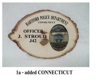 "Police badge plaque, medium, 10"" x 14.5"" Ofcr J Stroud Hartford PD CT"