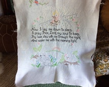 Vintage Now I Lay Me Down To Sleep Embroidey // Unframed Hand Embroidered Prayer // Wall Hanging Embroidery // Child's Bedtime Prayer
