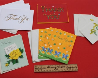 Vintage Lot of Assorted Thank you Cards, 11 Unused Thank You Cards with envelopes
