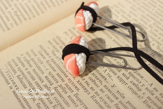 Salmon Sushi Love Bookmark Japanese Funny unusual bookmark books teacher gift for bookworm Roll Sushi Gifts kawaii Polymer Clay Sushi Food