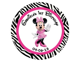 Minnie Mouse Round Labels Birthday Party Favors Hot Pink Stickers