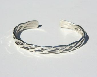Sterling Silver Braid Triple Twist Cuff