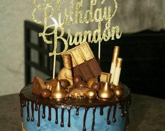 Custom Glitter cardstock Happy Birthday cake topper