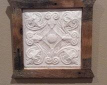 Framed Antique Ceiling Tile Tin          Sku: CM13