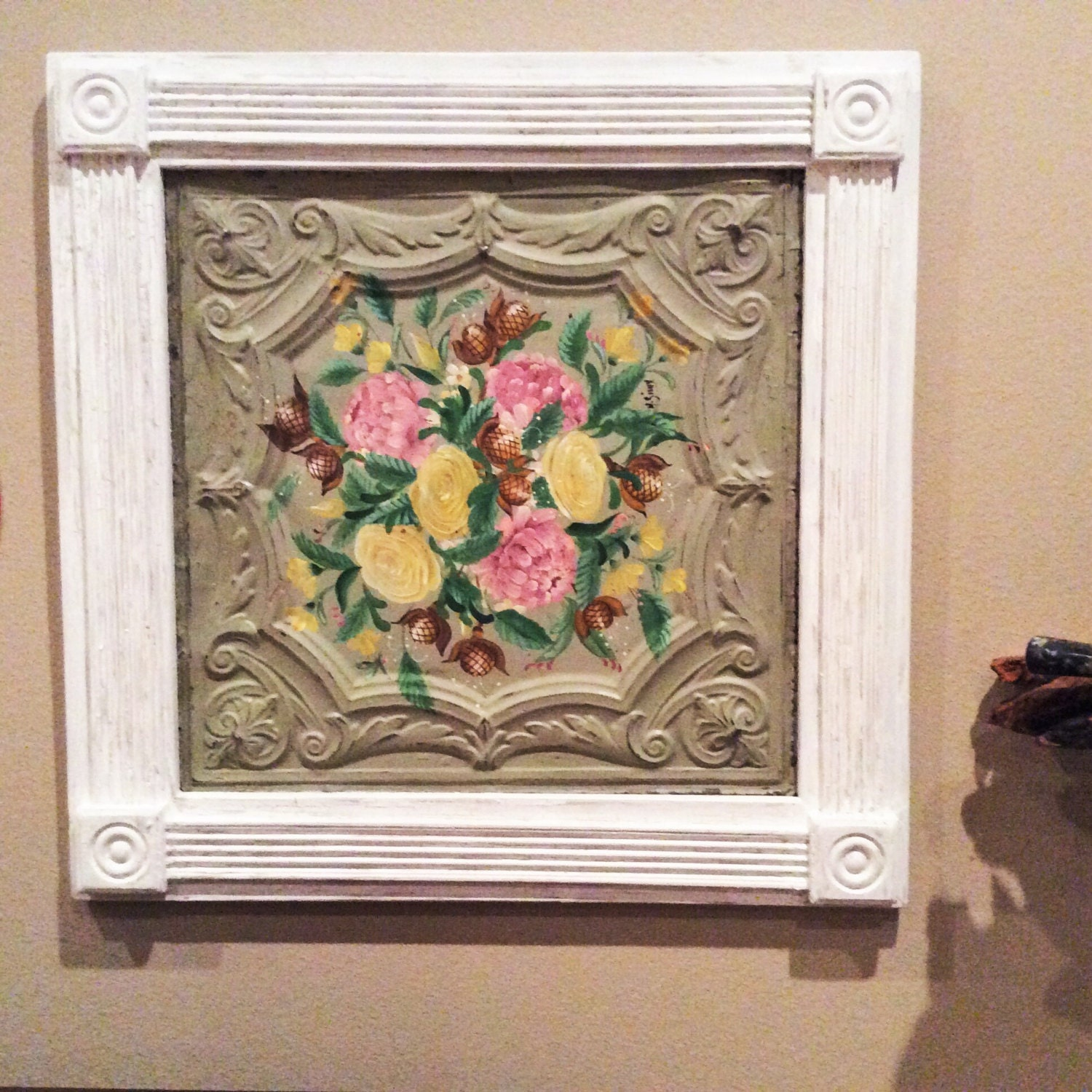 Shabby chic antique ceiling tile with hand painted flowers for Shabby chic wall tiles