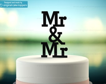"Gay Wedding Cake Topper - ""Mr & Mr"" - BLACK - OriginalCakeToppers"