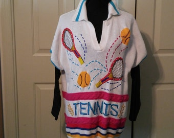 Tennis sweater, tennis racquets, bright colorful sweater, tennis chic, tennis theme, tennis top, tennis bling