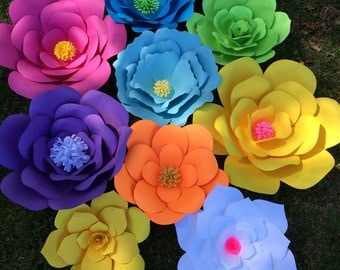 Set of 12 assorted extra large paper flowers for backdrops wedding decorations, diy flower wall, photo backdrop, cake table, Quinceanera
