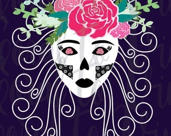 skull svg female skull svg sugar skull svg woman pretty skull day of the dead roses feminine floral skull svg girly flower skull svg