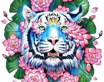 Lotus Effect - Signed Art Print - Fantasy Tiger Painting - Blossoms Spring Flower Floral Animal Portrait - by Jonas Jödicke