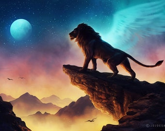 Free Like a Bird - Signed Art Print - Fantasy Lion Landscape Painting by Jonas Jödicke