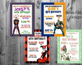 DC Comics Villains Birthday Invitations Digital Copy or Prints The Joker Harlequin Poison Ivy Deathstroke