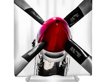 Airplane Shower Curtain,Red And Silver Propeller Bathroom Curtain,Military  Bathroom Decor,Shower