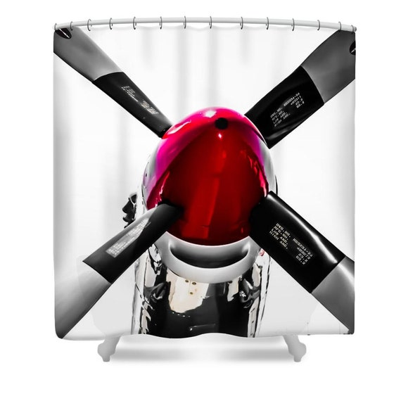 Airplane Shower CurtainRed and Silver Propeller Bathroom