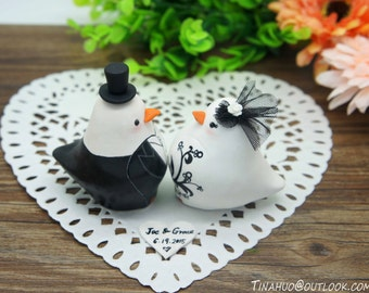 Custom Gothic Love Bird Wedding Cake Toppers--Vintage Bride And Groom Gothic Theme Cake Toppers With Banner