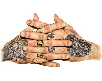 A4 or A3 Print of Tattooed Clasped Hands Knuckles Tattoo Ink Studio Model Memento Mori Anatomy Anatomical Realism Inked