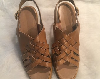 Light brown wedge sandals size 7