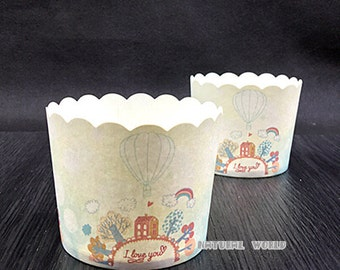 50X hot-air balloon Baking Cups,Cupcake Liners,Cake Cups Candy Cup Paper Dessert Cups Rainbow Party,Birthday Favor DIY Toppers,Wedding Favor