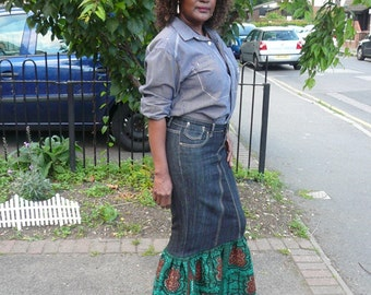 Green and Black African Wax and Denim Maxi Skirt, Long Skirt, Dashiki Skirt - Made to Order