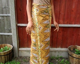 Antique gold and lotus flower African Wax Print Lapa Wrap Skirt - Made to Order