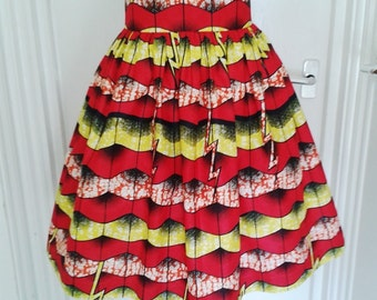 Samantha Red and Yellow Waves African Wax High Waist Dirndl Skirt - Made to Order