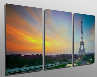 Metal Prints - Sunrise in Paris, with the Eiffel Tower - 3 Panel split, Triptych - Metal wall art on HD aluminum prints for interior design.