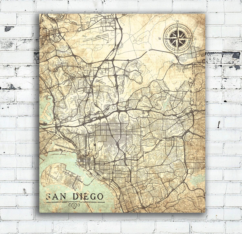 San Diego Ca Canvas Print California Vintage Map San Diego