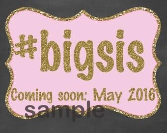 Promoted to Big Sister Chalkboard Sign / Big Sis Pregnancy Sign / Big Sister Chalkboard /Pink and Gold Pregnancy Sign /Digital File Only