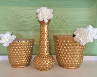 Gold Home Decor, Gold Vases, Gold Milk Glass, Gold Planter, Hobnail Milk Glass, Gold Planter, Gold Bud Vase