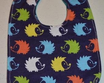 Hedgehogs on Blue - flannel bib