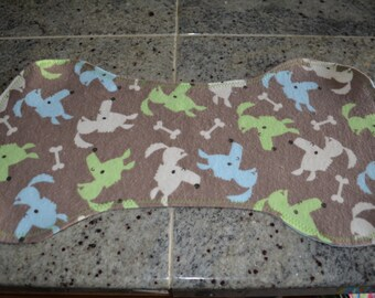 Flannel Burp Cloth - Brown w/ Colorful Puppies