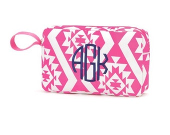 Monogram Cosmetic Bag, Makeup bag with monogram, cosmetic bag personalized, pink aztec cosmetic