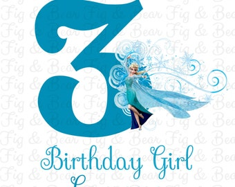 Frozen Birthday Girl Princess Elsa Personalized T Shirt Iron On Transfer for Girls