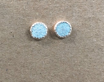 Baby Blue Suede Stud Earrings - Sterling Silver 8mm