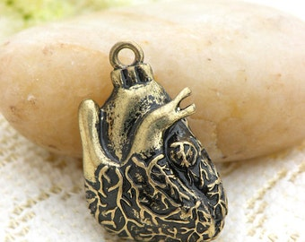 1 pcs 30x18mm Antique bronze 3d beating heart charm pendant Anatomical Heart pendant diy findings