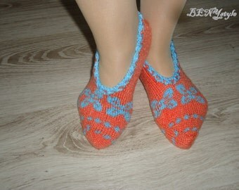 Women Slippers, Knit Home Slippers, Orange Slippers, Handmade Women Shoes, Slippers with Ornaments, Knitted Women Shoes