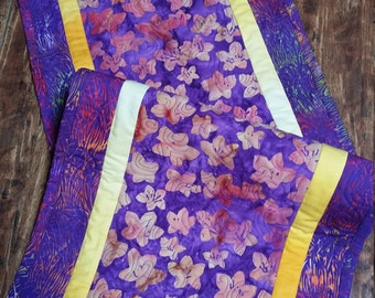 Table runner, table topper, tropical flowers of purple and yellow