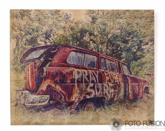 8x10 Metal Art: Vintage Car - Pray for Surf Photo Transfer Metal Artwork on Aged Aluminum