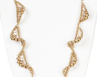 Givenchy Faux Golden Pearl and Rhinestone Spiral Necklace