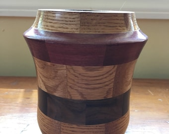 Maple, Dark Walnut & Purple Heart Segmented Vase