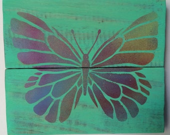 Butterfly Pallet Art Repurposed Wood Wall Hanging