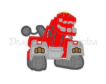 "Dinosaur truck tyrannosaurus applique machine embroidery design- 3 sizes 4x4"", 5x7"", 6x10"""